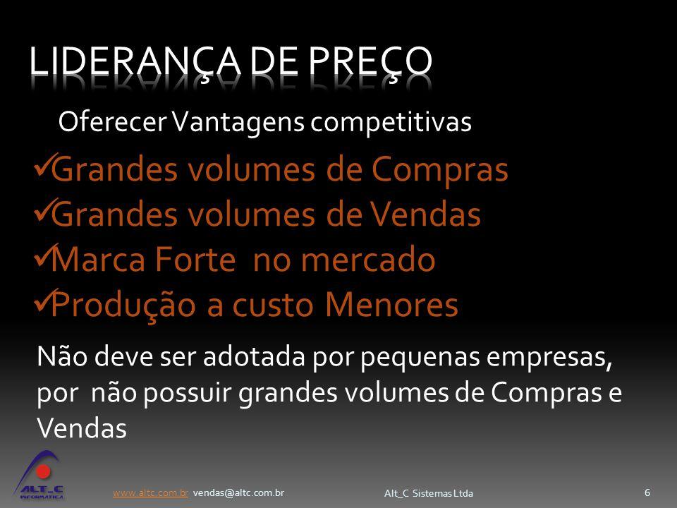 www.altc.com.brwww.altc.com.br vendas@altc.com.br Alt_C Sistemas Ltda 6 Grandes volumes de Compras Grandes volumes de Vendas Marca Forte no mercado Pr