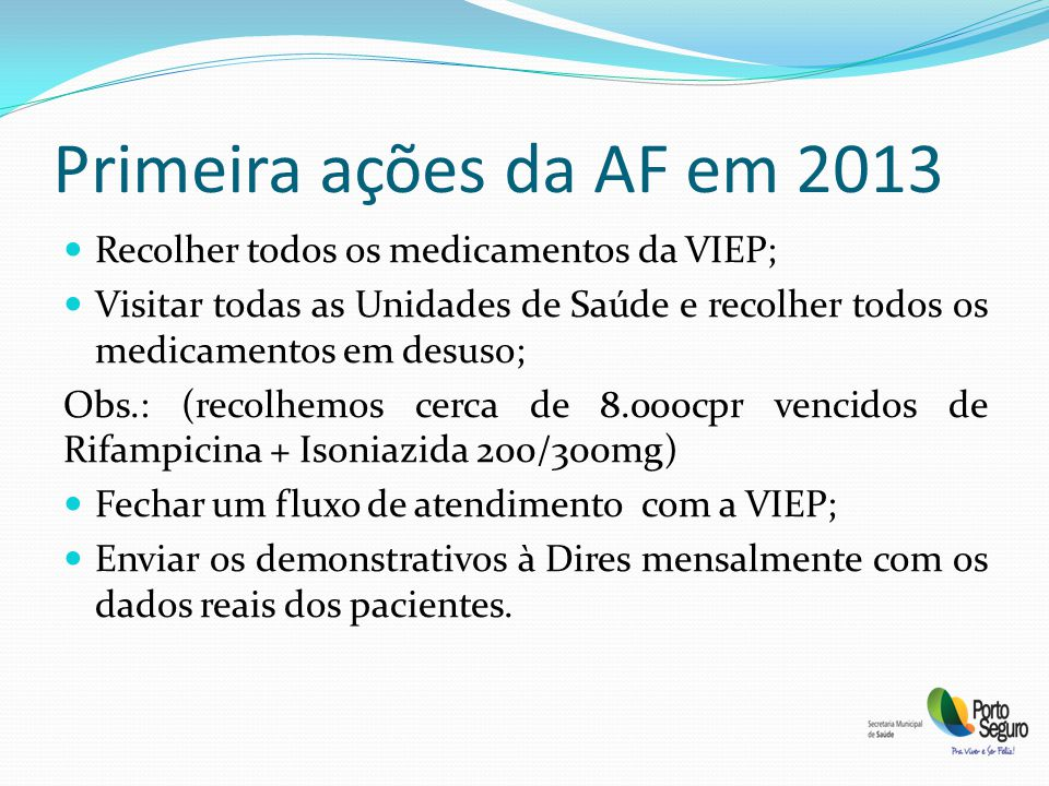 Primeira ações da AF em 2013 Recolher todos os medicamentos da VIEP; Visitar todas as Unidades de Saúde e recolher todos os medicamentos em desuso; Obs.: (recolhemos cerca de 8.000cpr vencidos de Rifampicina + Isoniazida 200/300mg) Fechar um fluxo de atendimento com a VIEP; Enviar os demonstrativos à Dires mensalmente com os dados reais dos pacientes.