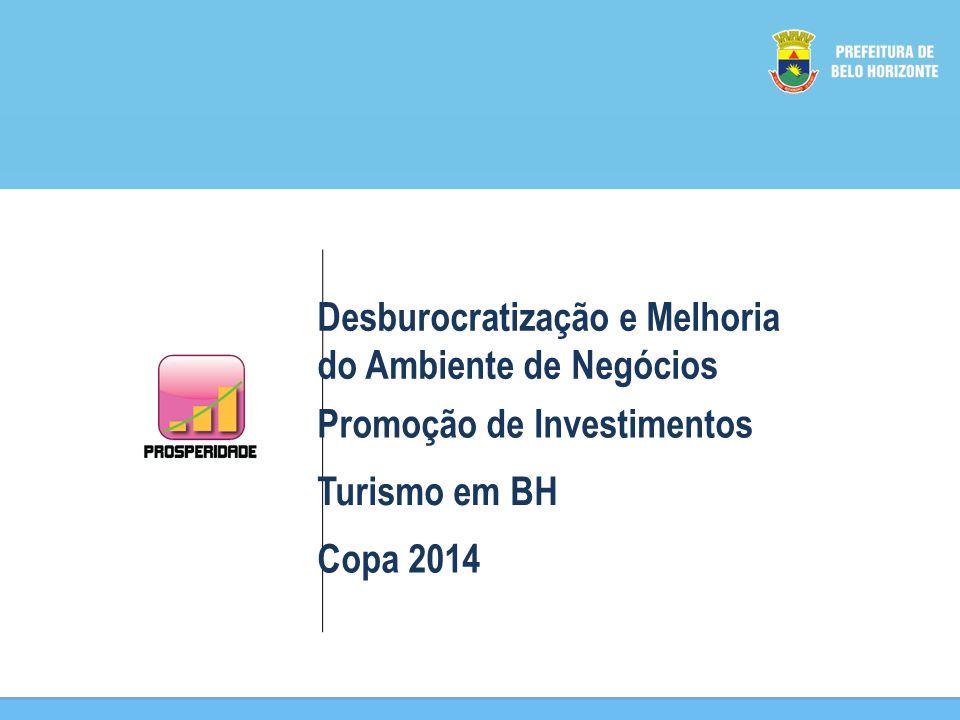 Desburocratização e Melhoria do Ambiente de Negócios Promoção de Investimentos Turismo em BH Copa 2014