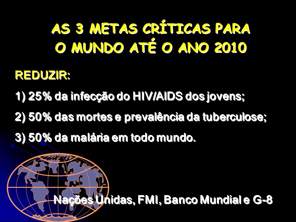 AS 3 METAS CRÍTICAS PARA O MUNDO ATÉ O ANO 2010 AS 3 METAS CRÍTICAS PARA O MUNDO ATÉ O ANO 2010 REDUZIR: 1) 25% da infecção do HIV/AIDS dos jovens; 2) 50% das mortes e prevalência da tuberculose; 3) 50% da malária em todo mundo.