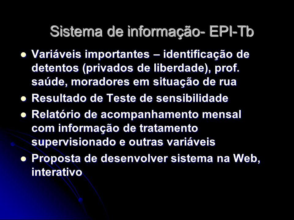 Sistema de informação- EPI-Tb Variáveis importantes – identificação de detentos (privados de liberdade), prof. saúde, moradores em situação de rua Var