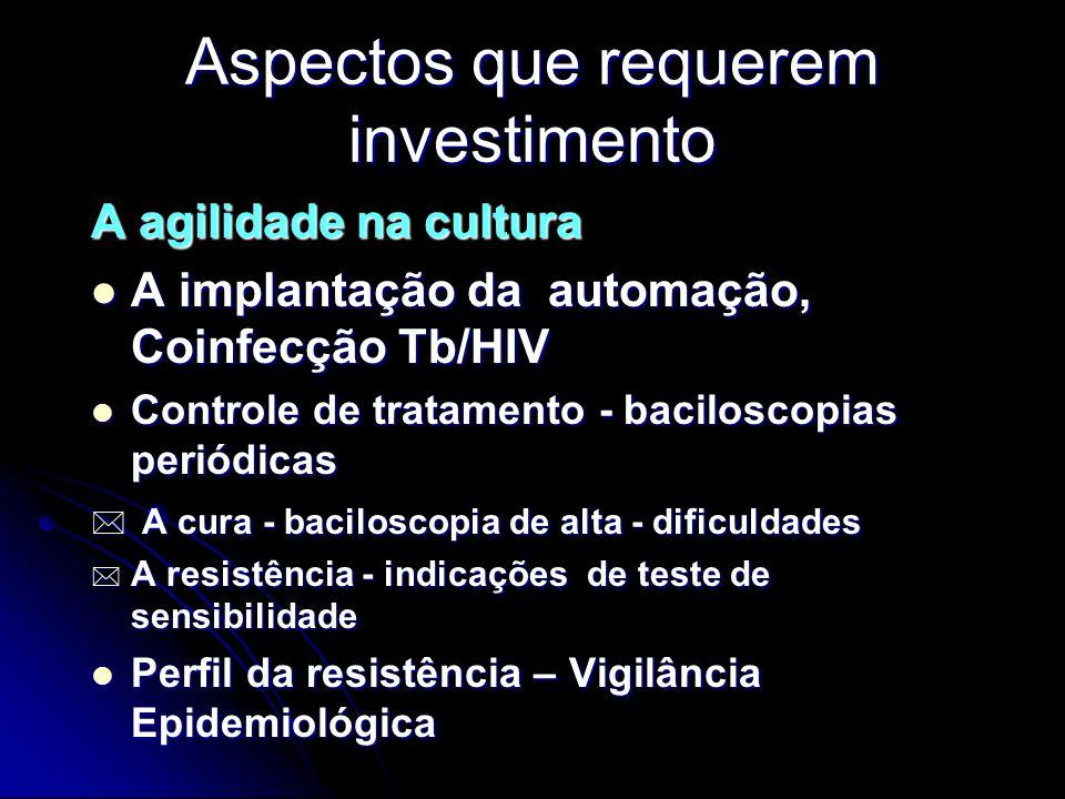 Aspectos que requerem investimento A agilidade na cultura A implantação da automação, Coinfecção Tb/HIV A implantação da automação, Coinfecção Tb/HIV Controle de tratamento - baciloscopias periódicas Controle de tratamento - baciloscopias periódicas * A cura - baciloscopia de alta - dificuldades * A resistência - indicações de teste de sensibilidade Perfil da resistência – Vigilância Epidemiológica Perfil da resistência – Vigilância Epidemiológica