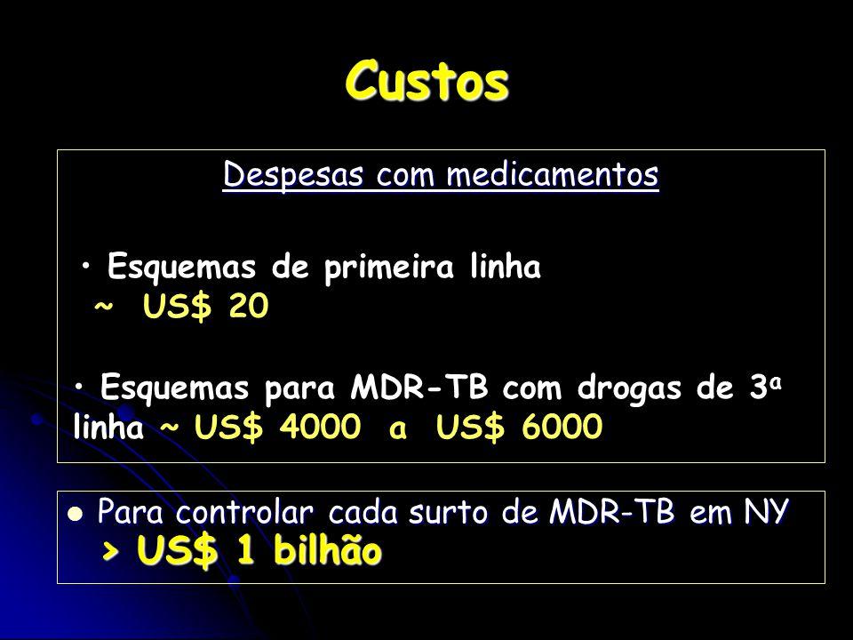 Custos Despesas com medicamentos Para controlar cada surto de MDR-TB em NY > US$ 1 bilhão Para controlar cada surto de MDR-TB em NY > US$ 1 bilhão Esq