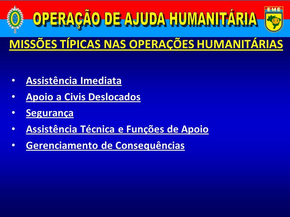 Assistência Imediata Apoio a Civis Deslocados Segurança Assistência Técnica e Funções de Apoio Gerenciamento de Consequências MISSÕES TÍPICAS NAS OPER