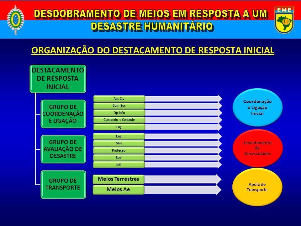ORGANIZAÇÃO DO DESTACAMENTO DE RESPOSTA INICIAL DESTACAMENTO DE RESPOSTA INICIAL GRUPO DE COORDENAÇÃ O E LIGAÇÃO GRUPO DE AVALIAÇÃO DE DESASTRE GRUPO