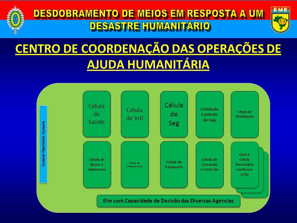 CENTRO DE COORDENAÇÃO DAS OPERAÇÕES DE AJUDA HUMANITÁRIA Cenário Operativo Comum Célula de Saúde Célula de Busca e Salamento Célula de Intl Célula de