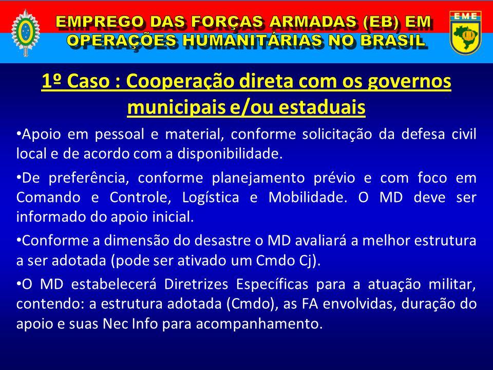 1º Caso : Cooperação direta com os governos municipais e/ou estaduais Apoio em pessoal e material, conforme solicitação da defesa civil local e de aco