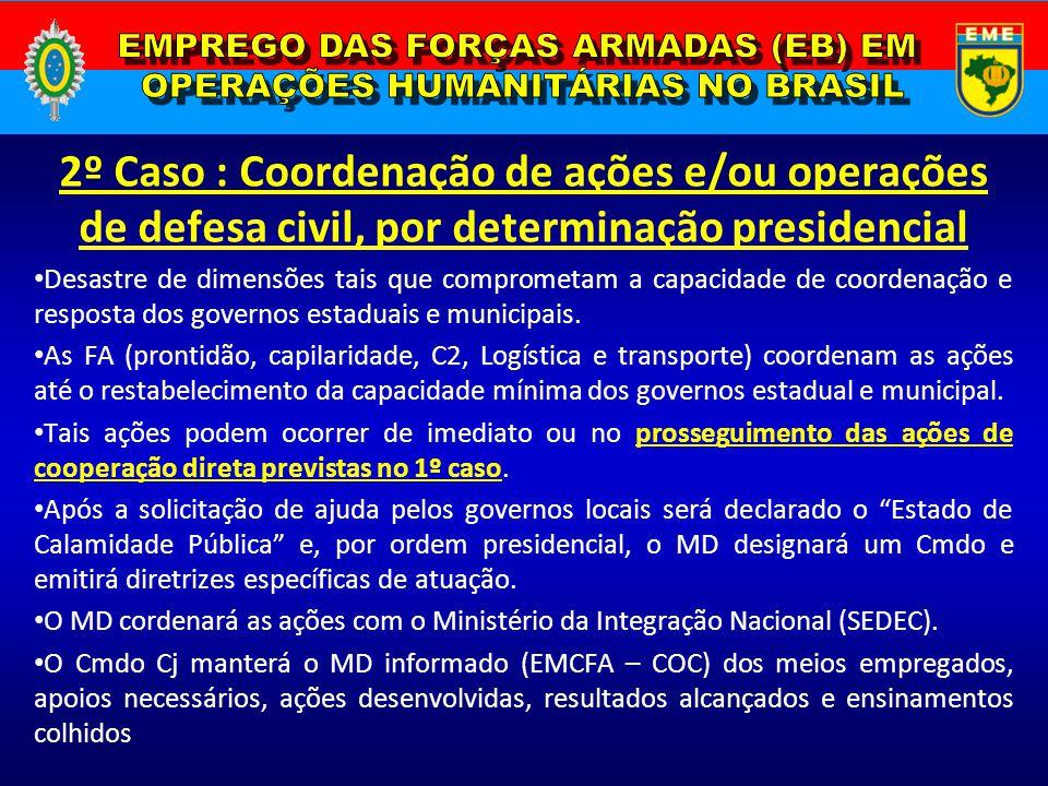 2º Caso : Coordenação de ações e/ou operações de defesa civil, por determinação presidencial Desastre de dimensões tais que comprometam a capacidade d