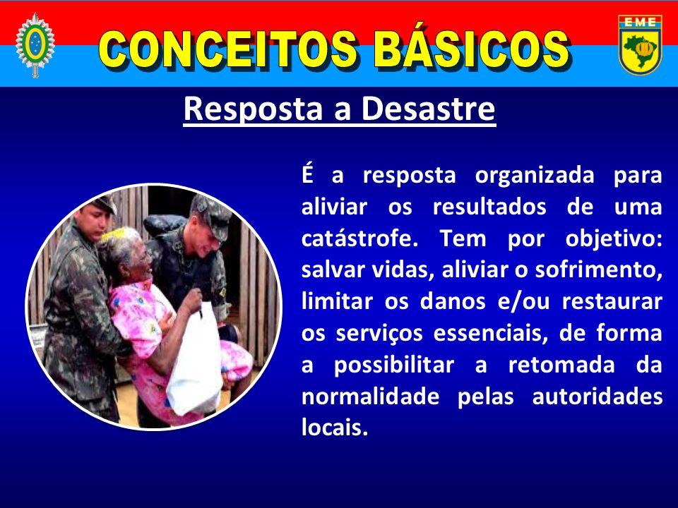 Resposta a Desastre É a resposta organizada para aliviar os resultados de uma catástrofe. Tem por objetivo: salvar vidas, aliviar o sofrimento, limita