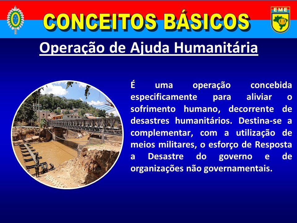 Operação de Ajuda Humanitária É uma operação concebida especificamente para aliviar o sofrimento humano, decorrente de desastres humanitários. Destina