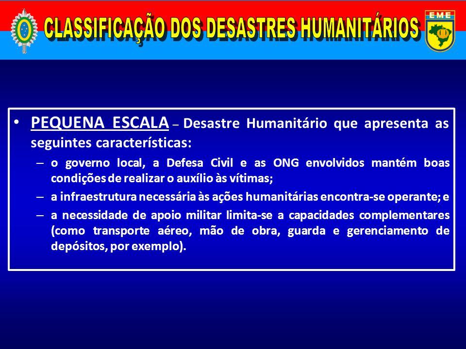 PEQUENA ESCALA – Desastre Humanitário que apresenta as seguintes características: – o governo local, a Defesa Civil e as ONG envolvidos mantém boas co