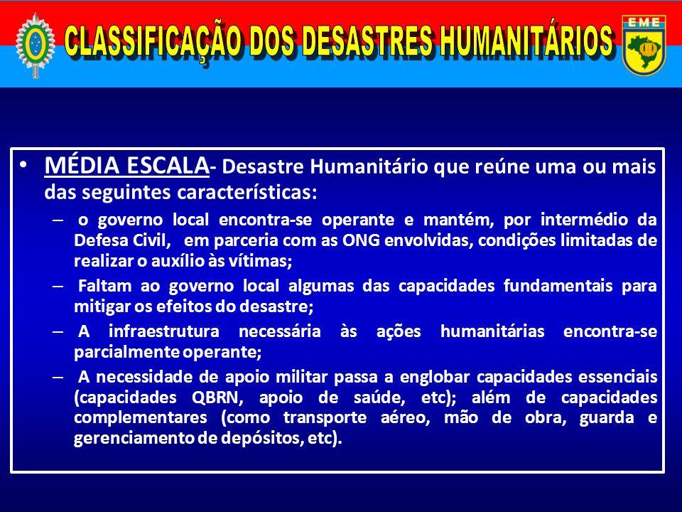 MÉDIA ESCALA - Desastre Humanitário que reúne uma ou mais das seguintes características: – o governo local encontra-se operante e mantém, por interméd