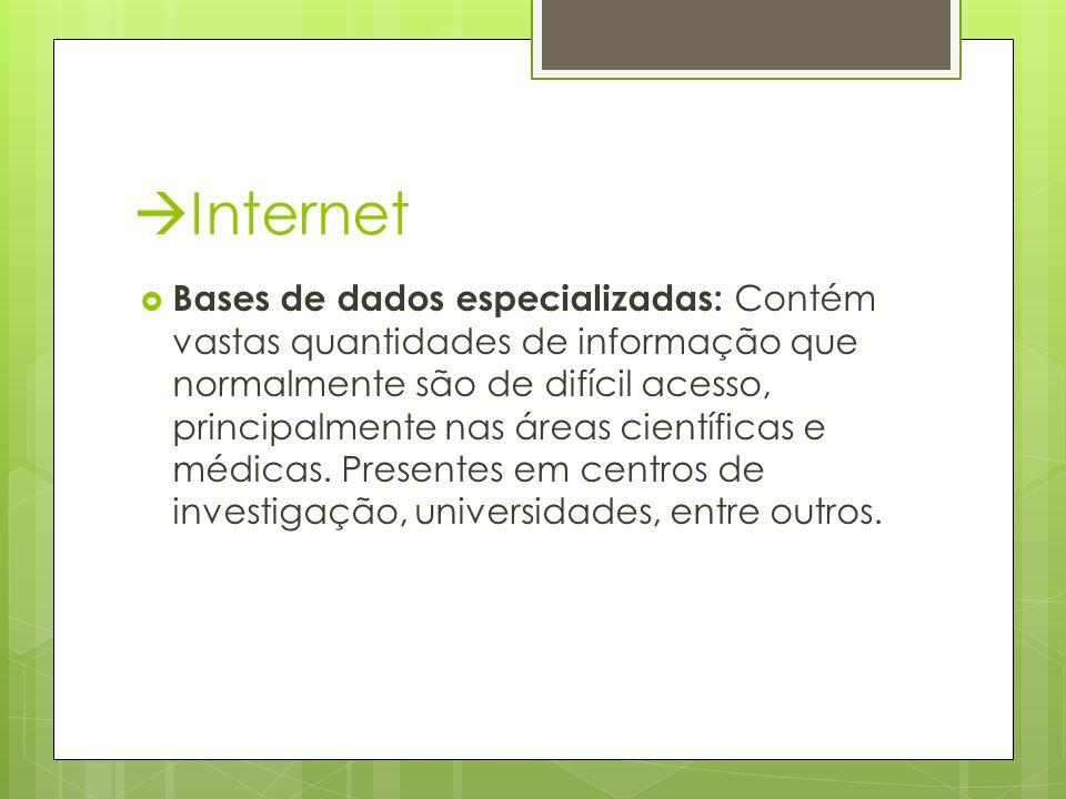  Internet  Bases de dados especializadas: Contém vastas quantidades de informação que normalmente são de difícil acesso, principalmente nas áreas científicas e médicas.