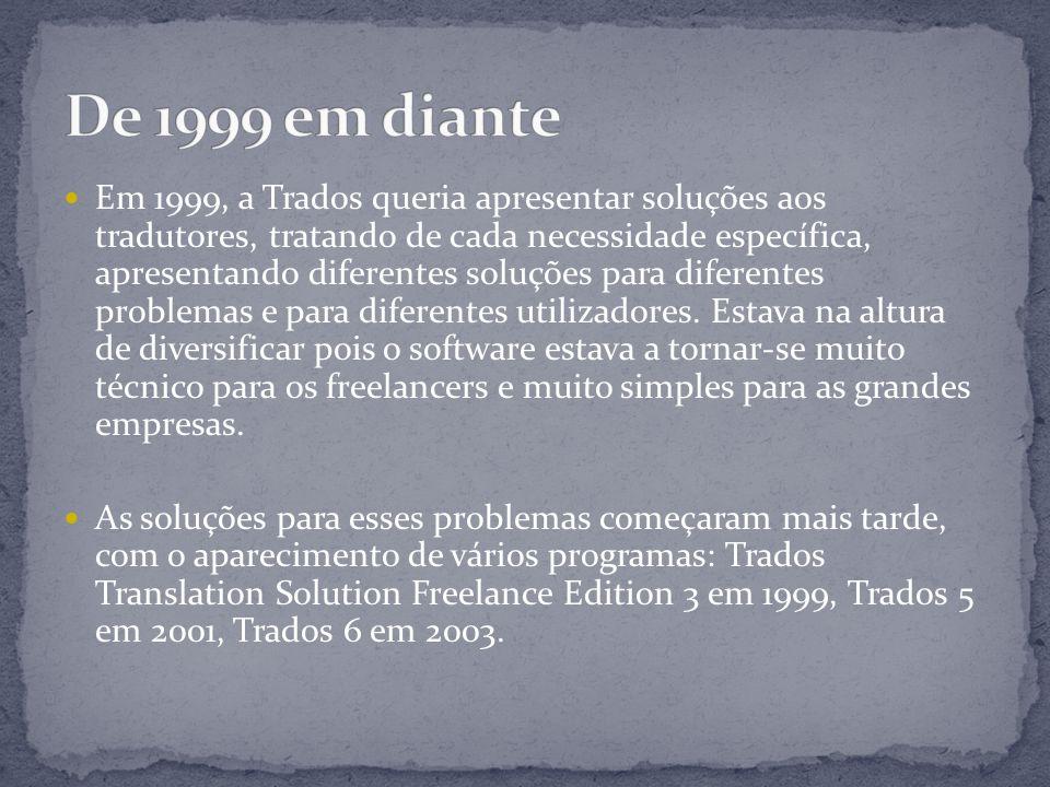 Em 1999, a Trados queria apresentar soluções aos tradutores, tratando de cada necessidade específica, apresentando diferentes soluções para diferentes problemas e para diferentes utilizadores.