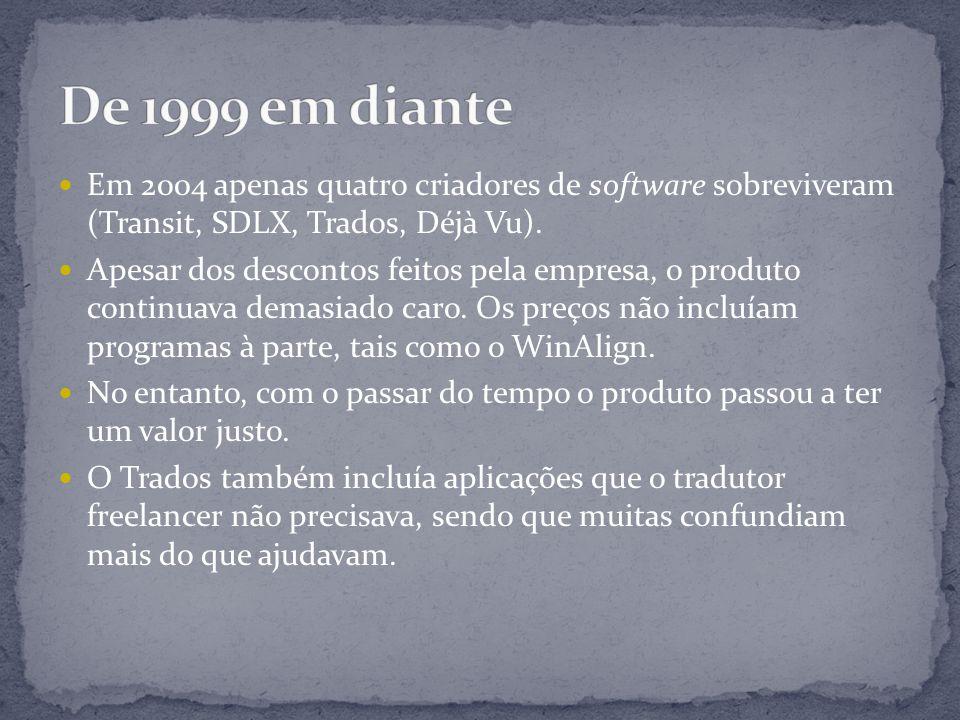 Em 2004 apenas quatro criadores de software sobreviveram (Transit, SDLX, Trados, Déjà Vu).