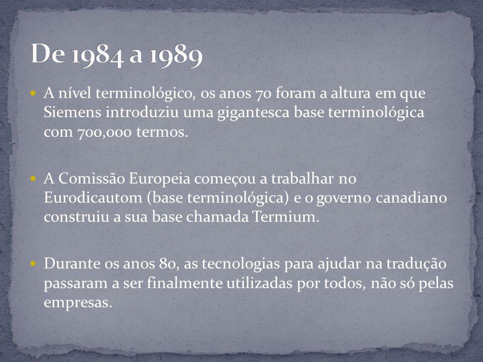 A nível terminológico, os anos 70 foram a altura em que Siemens introduziu uma gigantesca base terminológica com 700,000 termos.