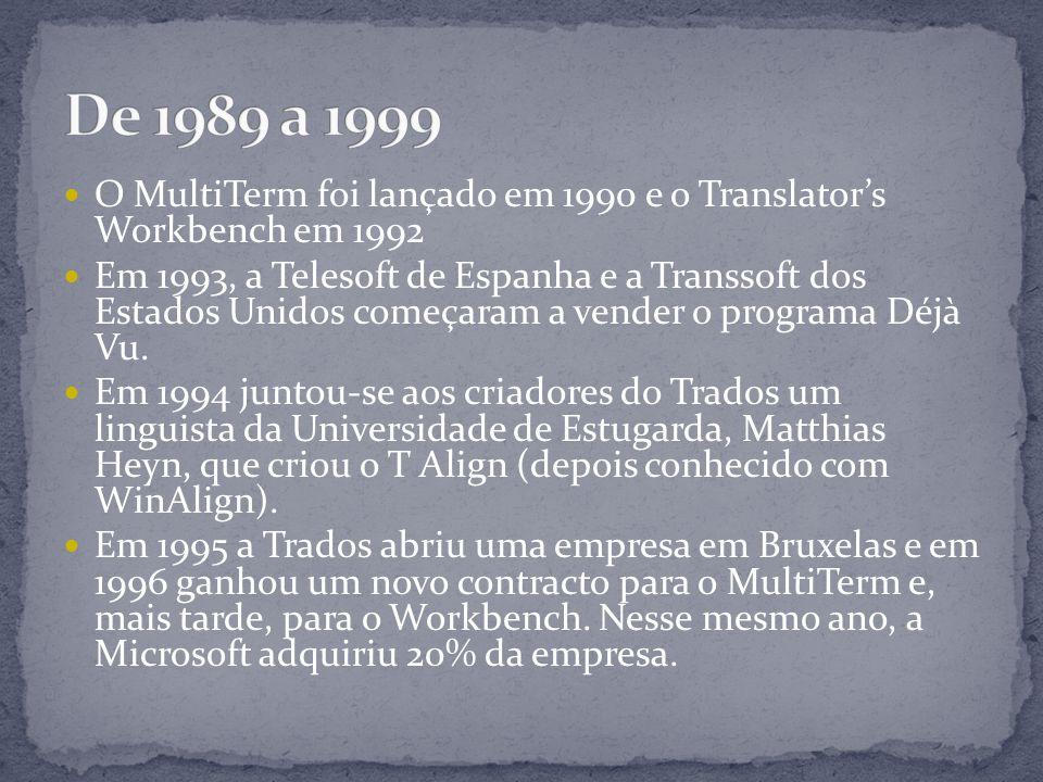 O MultiTerm foi lançado em 1990 e o Translator's Workbench em 1992 Em 1993, a Telesoft de Espanha e a Transsoft dos Estados Unidos começaram a vender o programa Déjà Vu.