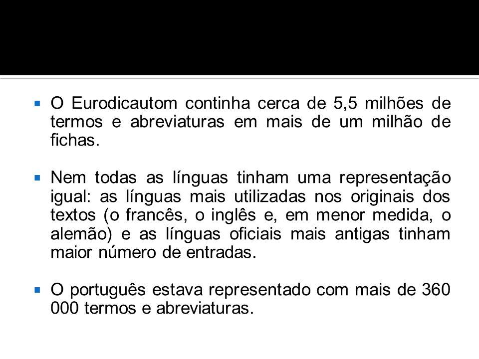  O Eurodicautom continha cerca de 5,5 milhões de termos e abreviaturas em mais de um milhão de fichas.