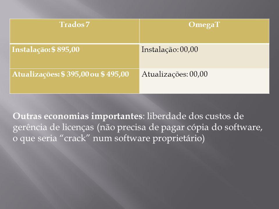 Trados 7OmegaT Instalação: $ 895,00 Instalação: 00,00 Atualizações: $ 395,00 ou $ 495,00 Atualizações: 00,00 Outras economias importantes : liberdade