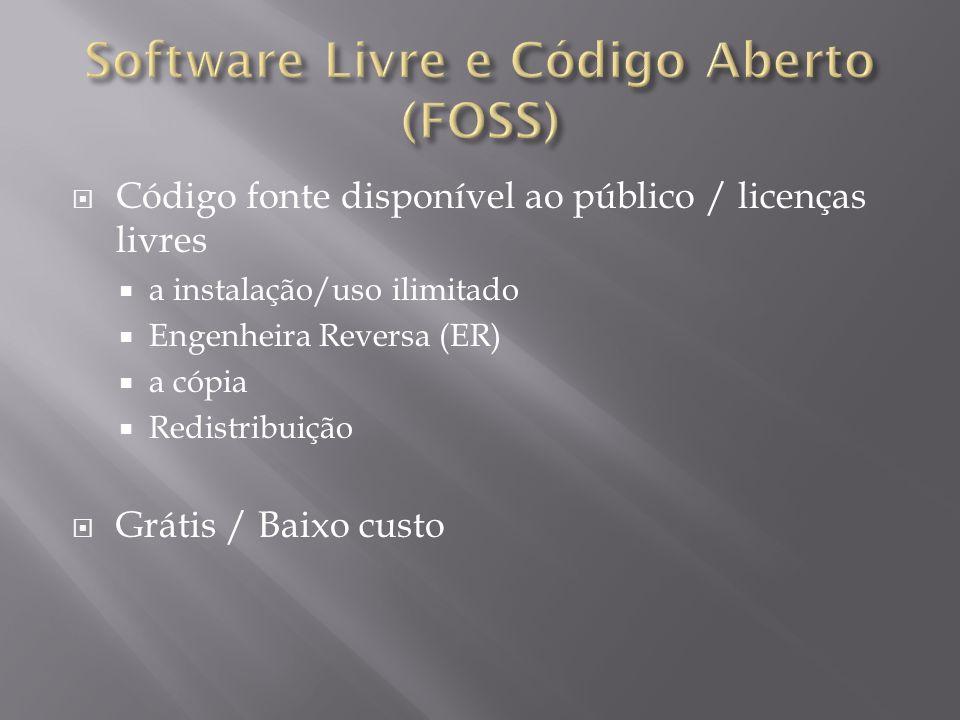 Código fonte disponível ao público / licenças livres  a instalação/uso ilimitado  Engenheira Reversa (ER)  a cópia  Redistribuição  Grátis / Baixo custo