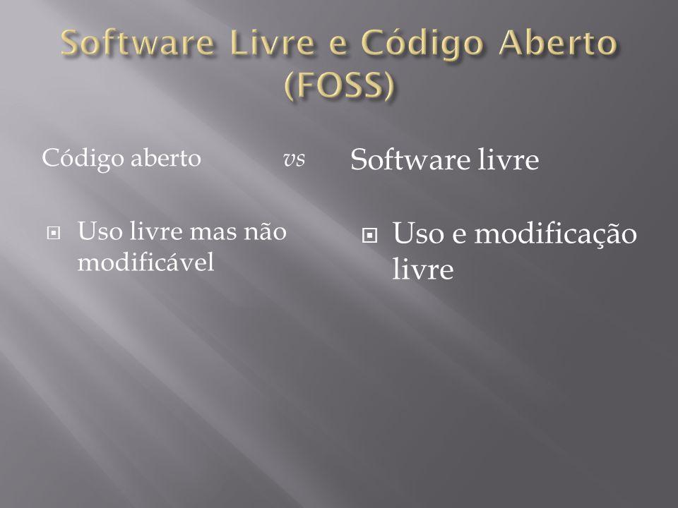 Código aberto vs Software livre  Uso livre mas não modificável  Uso e modificação livre