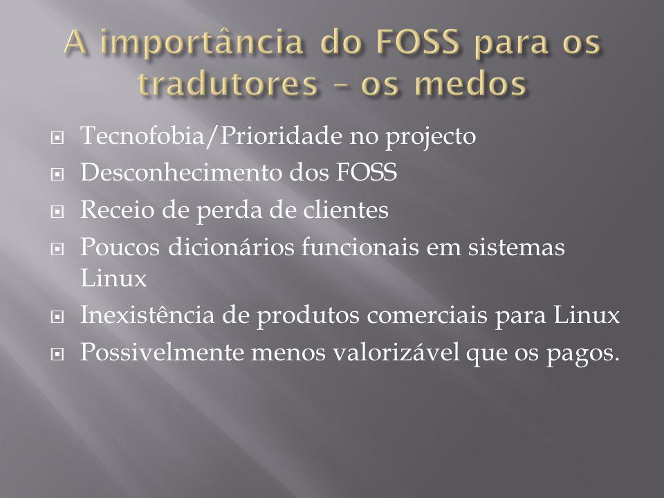  Tecnofobia/Prioridade no projecto  Desconhecimento dos FOSS  Receio de perda de clientes  Poucos dicionários funcionais em sistemas Linux  Inexi