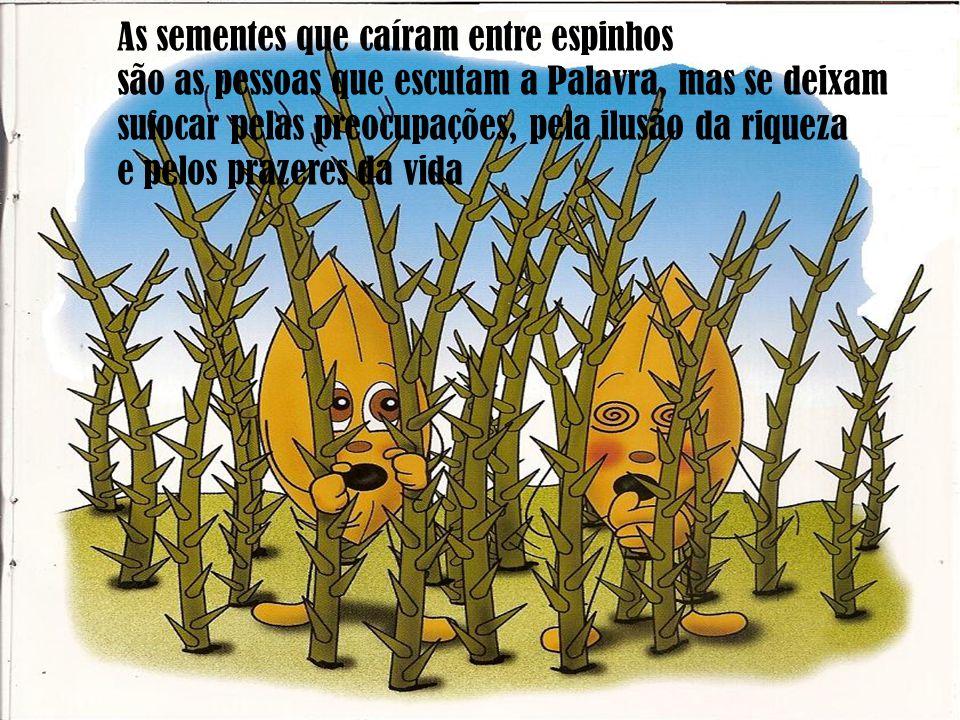 A semente é a Palavra de Deus no terreno CORAÇÃO As sementes comidas pelos pássaros representam as pessoas que ouvem, mas deixam-se levar pela preguiç