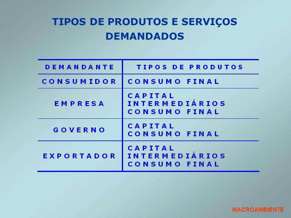 MACROAMBIENTE TIPOS DE PRODUTOS E SERVIÇOS DEMANDADOS