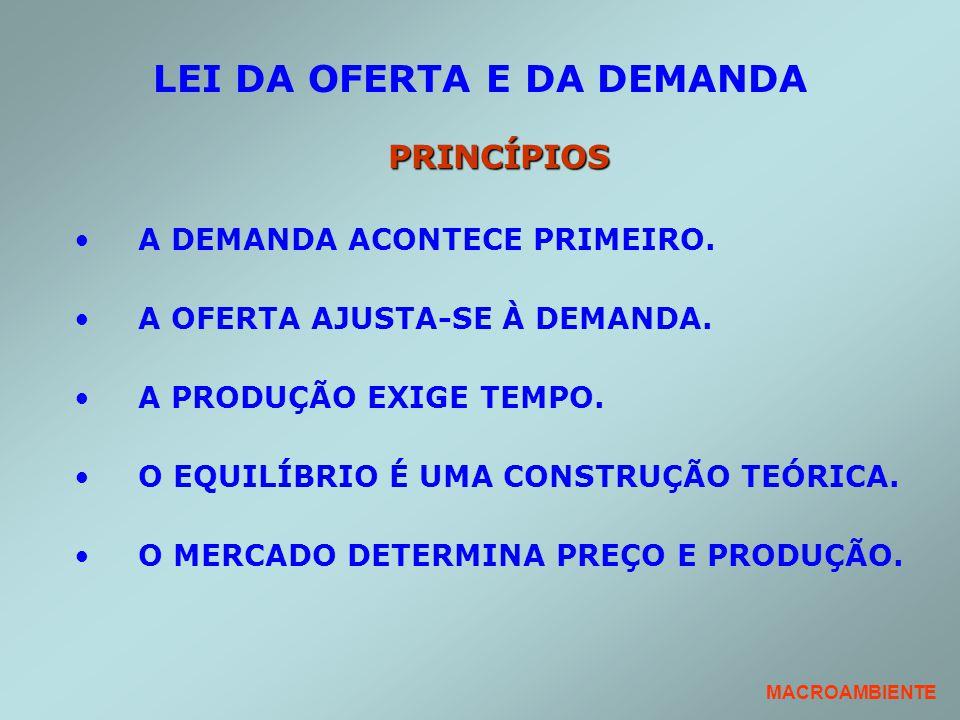 LEI DA OFERTA E DA DEMANDA PRINCÍPIOS A DEMANDA ACONTECE PRIMEIRO. A OFERTA AJUSTA-SE À DEMANDA. A PRODUÇÃO EXIGE TEMPO. O EQUILÍBRIO É UMA CONSTRUÇÃO