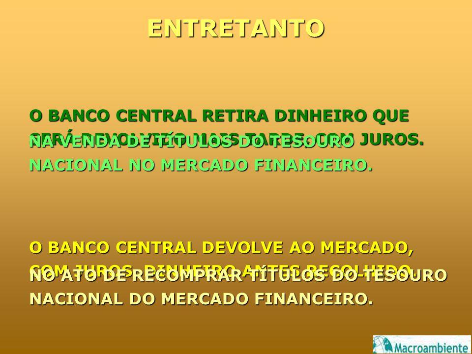 ENTRETANTO O BANCO CENTRAL RETIRA DINHEIRO QUE SERÁ DEVOLVIDO MAIS TARDE, COM JUROS. O BANCO CENTRAL DEVOLVE AO MERCADO, COM JUROS, DINHEIRO ANTES REC