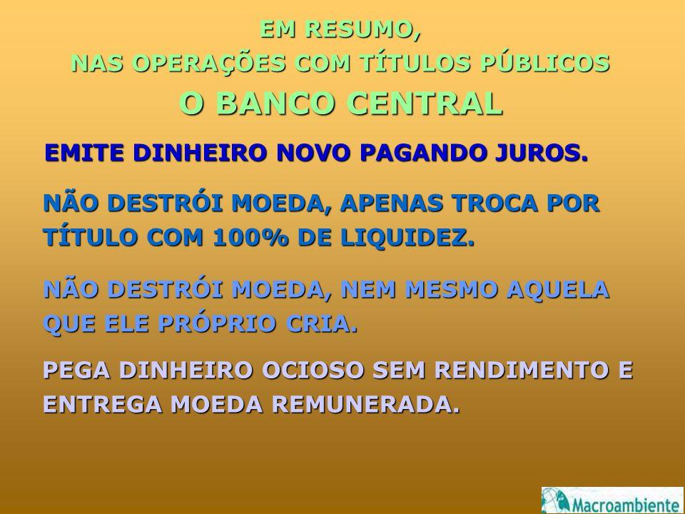 EM RESUMO, NAS OPERAÇÕES COM TÍTULOS PÚBLICOS O BANCO CENTRAL NÃO DESTRÓI MOEDA, APENAS TROCA POR TÍTULO COM 100% DE LIQUIDEZ.