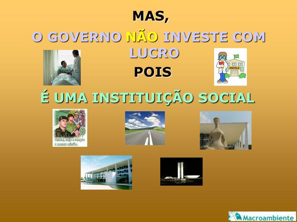MAS, O GOVERNO NÃO INVESTE COM LUCRO POIS É UMA INSTITUIÇÃO SOCIAL