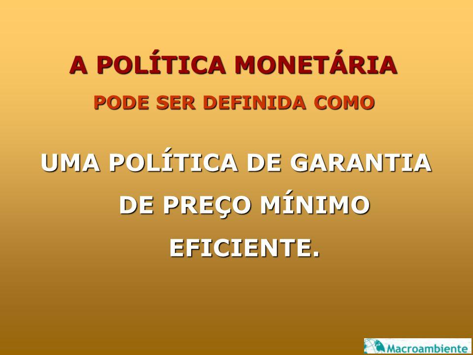 UMA POLÍTICA DE GARANTIA DE PREÇO MÍNIMO EFICIENTE. PODE SER DEFINIDA COMO A POLÍTICA MONETÁRIA