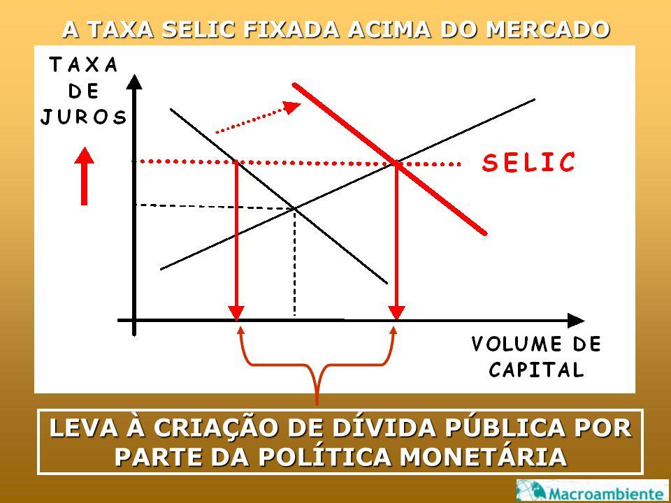 A TAXA SELIC FIXADA ACIMA DO MERCADO LEVA À CRIAÇÃO DE DÍVIDA PÚBLICA POR PARTE DA POLÍTICA MONETÁRIA