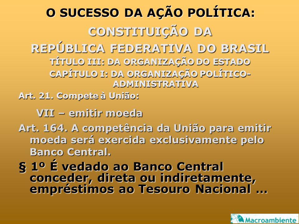 CONSTITUIÇÃO DA REPÚBLICA FEDERATIVA DO BRASIL TÍTULO III: DA ORGANIZAÇÃO DO ESTADO CAPÍTULO I: DA ORGANIZAÇÃO POLÍTICO- ADMINISTRATIVA Art. 21. Compe