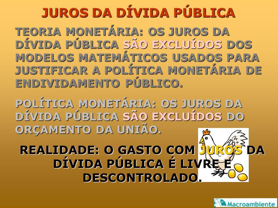 JUROS DA DÍVIDA PÚBLICA TEORIA MONETÁRIA: OS JUROS DA DÍVIDA PÚBLICA SÃO EXCLUÍDOS DOS MODELOS MATEMÁTICOS USADOS PARA JUSTIFICAR A POLÍTICA MONETÁRIA DE ENDIVIDAMENTO PÚBLICO.