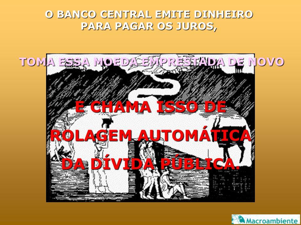O BANCO CENTRAL EMITE DINHEIRO PARA PAGAR OS JUROS, E CHAMA ISSO DE ROLAGEM AUTOMÁTICA DA DÍVIDA PÚBLICA.