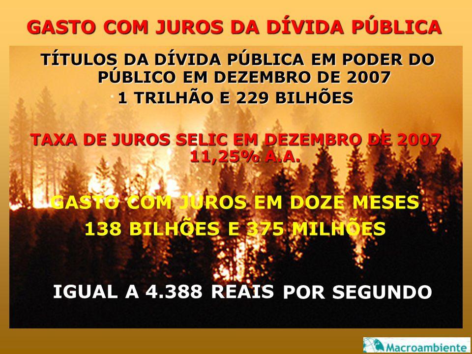 GASTO COM JUROS DA DÍVIDA PÚBLICA TÍTULOS DA DÍVIDA PÚBLICA EM PODER DO PÚBLICO EM DEZEMBRO DE 2007 1 TRILHÃO E 229 BILHÕES TAXA DE JUROS SELIC EM DEZEMBRO DE 2007 11,25% A.A.