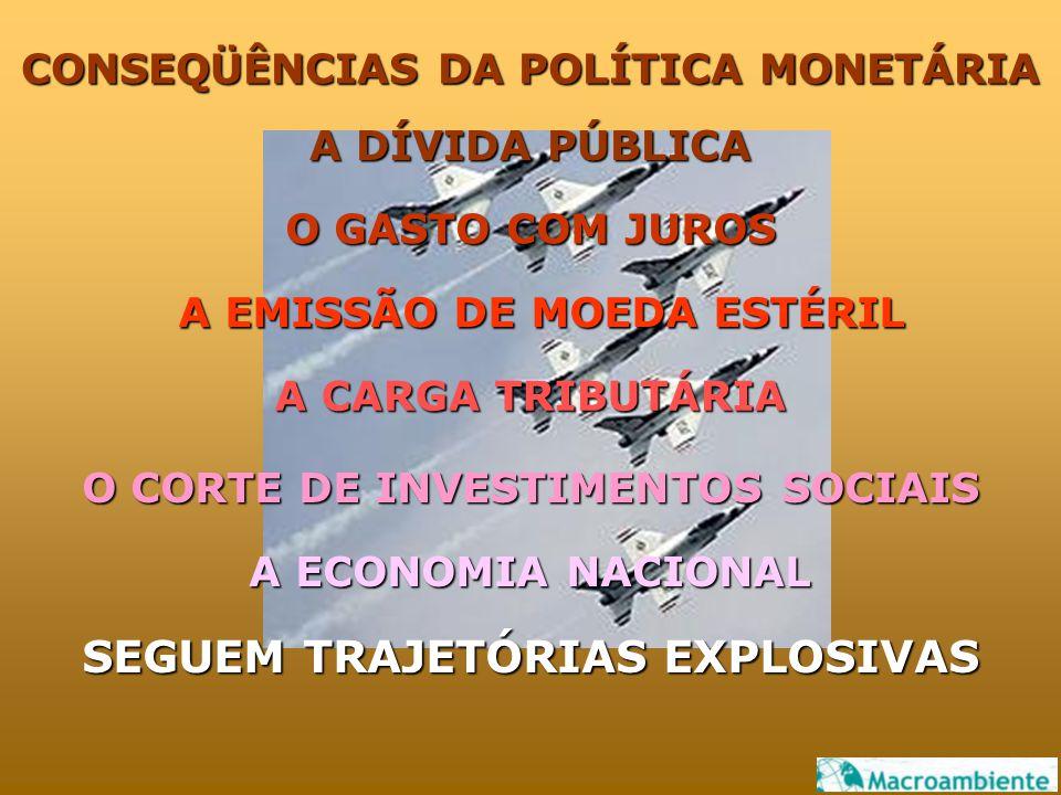 CONSEQÜÊNCIAS DA POLÍTICA MONETÁRIA A DÍVIDA PÚBLICA O GASTO COM JUROS A EMISSÃO DE MOEDA ESTÉRIL A CARGA TRIBUTÁRIA O CORTE DE INVESTIMENTOS SOCIAIS A ECONOMIA NACIONAL SEGUEM TRAJETÓRIAS EXPLOSIVAS