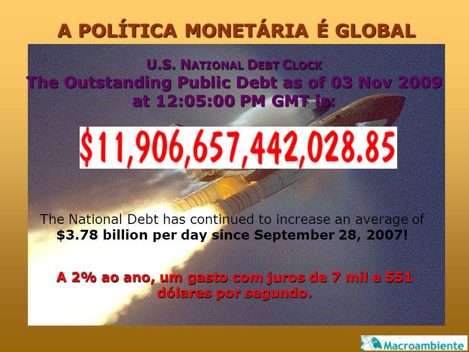 A 2% ao ano, um gasto com juros de 7 mil e 551 dólares por segundo. U.S. N ATIONAL D EBT C LOCK The Outstanding Public Debt as of 03 Nov 2009 at 12:05