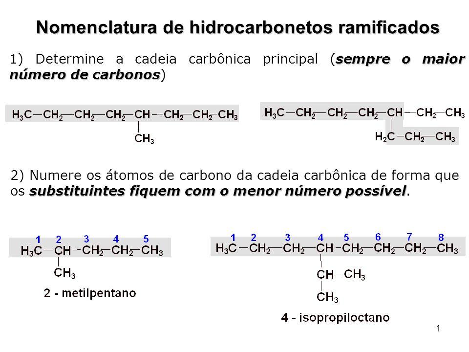 1 Nomenclatura de hidrocarbonetos ramificados sempre o maior número de carbonos 1) Determine a cadeia carbônica principal (sempre o maior número de ca
