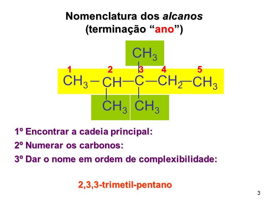 """3 Nomenclatura dos alcanos (terminação """"ano"""") 1º Encontrar a cadeia principal: 2º Numerar os carbonos: 3º Dar o nome em ordem de complexibilidade: 1 2"""
