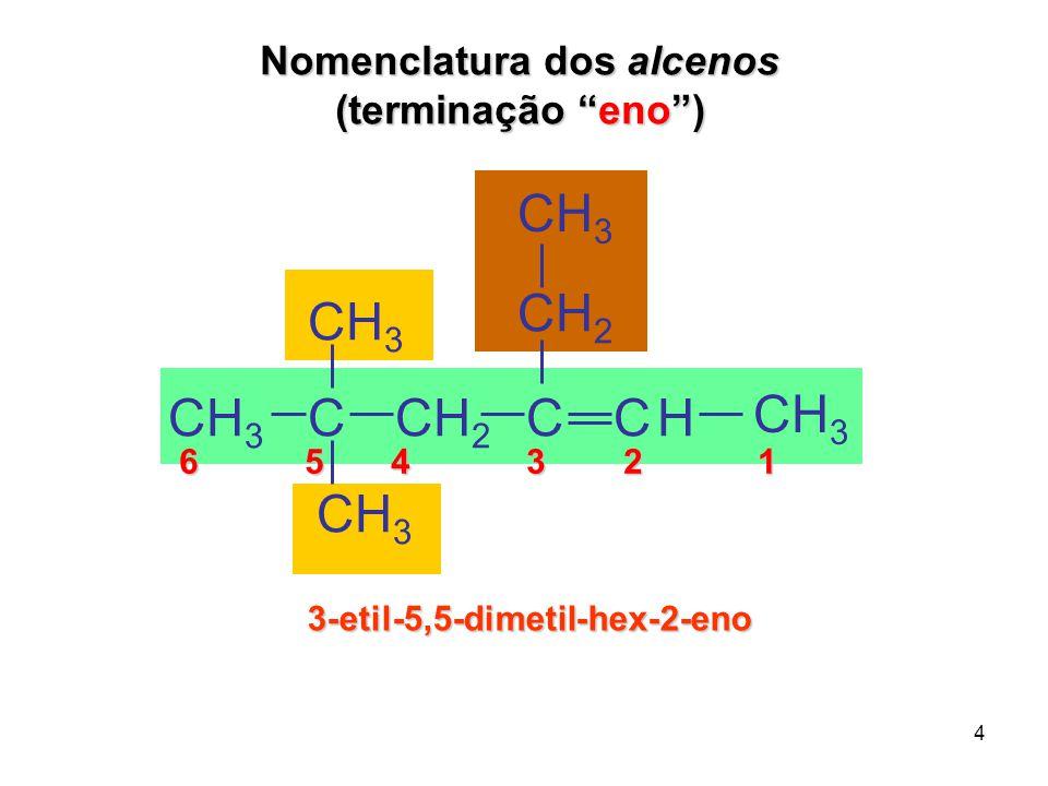 """4 6 5 4 3 2 1 6 5 4 3 2 1 3-etil-5,5-dimetil-hex-2-eno CH 3 CCH 2 CCH 3 H C CH 2 Nomenclatura dos alcenos (terminação """"eno"""")"""