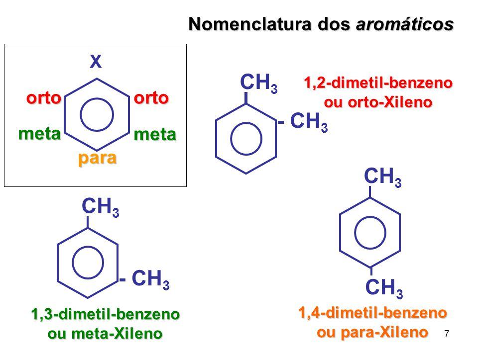 7 1,3-dimetil-benzeno ou meta-Xileno CH 3 - CH 3 CH 3 1,4-dimetil-benzeno ou para-Xileno Nomenclatura dos aromáticos ortoorto meta meta para X CH 3 -