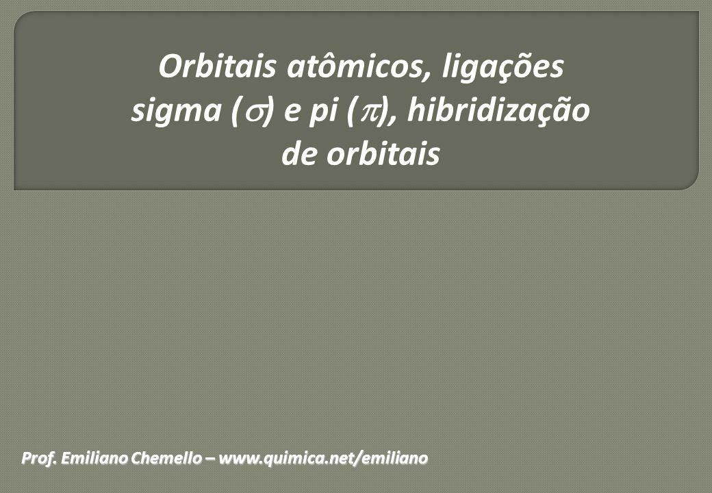 Orbitais atômicos, ligações sigma (  ) e pi (  ), hibridização de orbitais Prof. Emiliano Chemello – www.quimica.net/emiliano