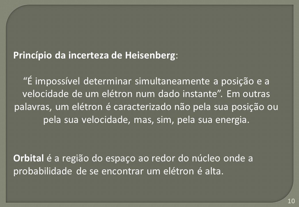 """10 Princípio da incerteza de Heisenberg: """"É impossível determinar simultaneamente a posição e a velocidade de um elétron num dado instante"""". Em outras"""