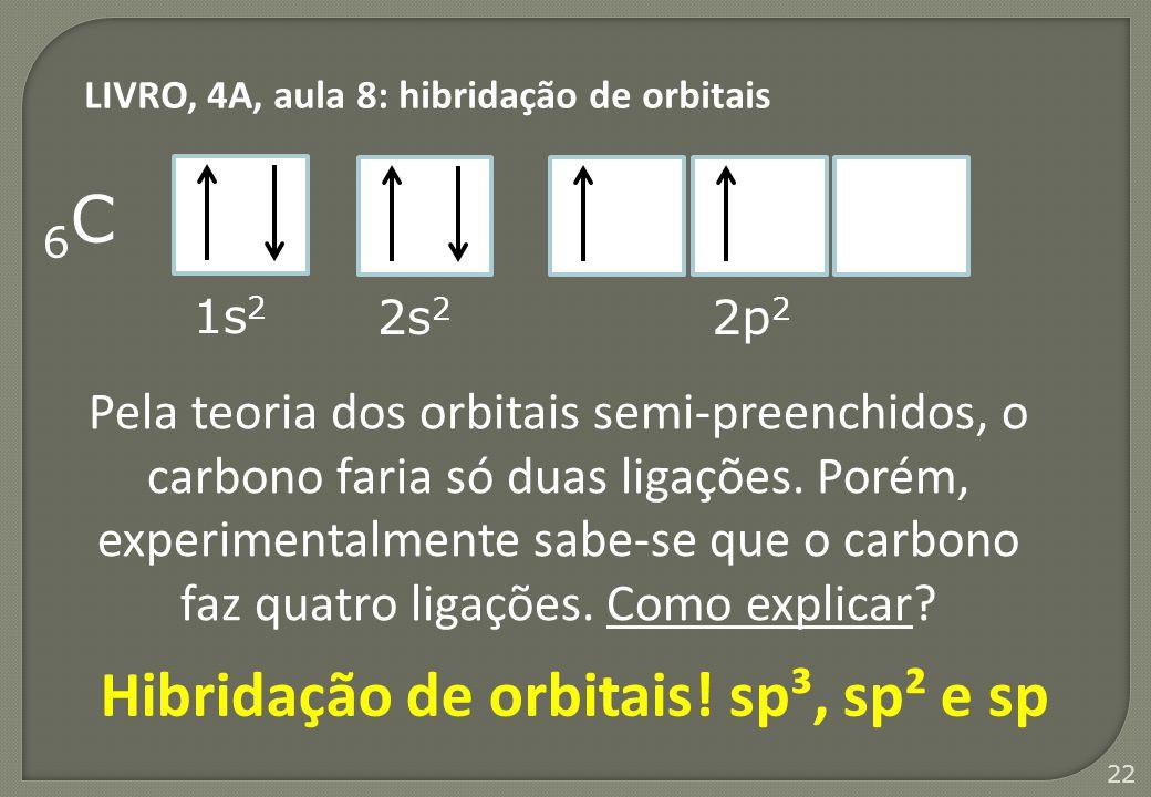 22 6C6C 1s 2 2s 2 2p 2 Pela teoria dos orbitais semi-preenchidos, o carbono faria só duas ligações. Porém, experimentalmente sabe-se que o carbono faz