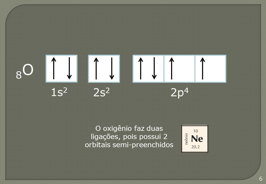 7 17 Cl 1s 1 2s 2 2p 6 3s 2 3p 5 O cloro faz uma ligação, pois possui 1 orbital semi-preenchido