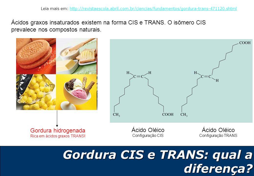 11 Gordura CIS e TRANS: qual a diferença? Gordura CIS e TRANS: qual a diferença? Ácidos graxos insaturados existem na forma CIS e TRANS. O isômero CIS