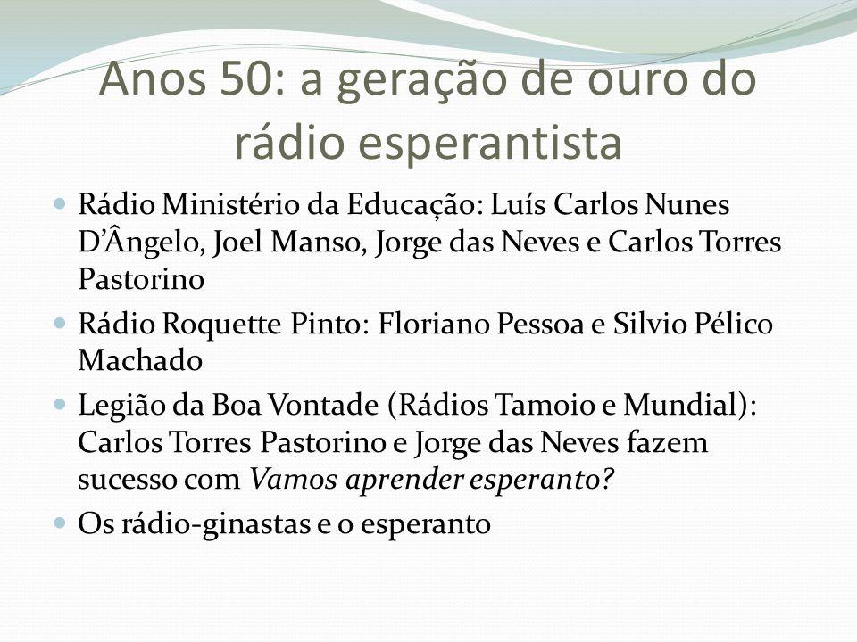 Anos 50: a geração de ouro do rádio esperantista Rádio Ministério da Educação: Luís Carlos Nunes D'Ângelo, Joel Manso, Jorge das Neves e Carlos Torres